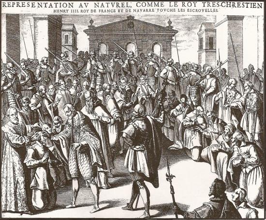 Enrique IV tocando a 575 enfermos en Reims duriante la Semana Santa de 1606. Grabado de Pierre Firrens